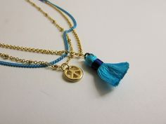 Peace Tassel Necklace - Blue
