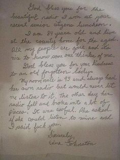 hilarious letter written by a senior citizen. too funny not to share! this sounds like some of the older folks i take care of!!! @Stacey Whitaker @Lauren Brown