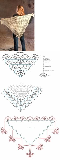 Crochet Shawl Collection - Free Crochet Diagrams - (fifiacrocheta.blogspot)