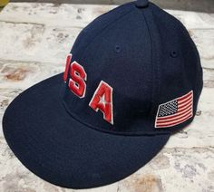 aab9ec09c77 Nike Dream Team USA Hat Olympics Basketball Cap 643 Fitted Hat Navy Size 7 1