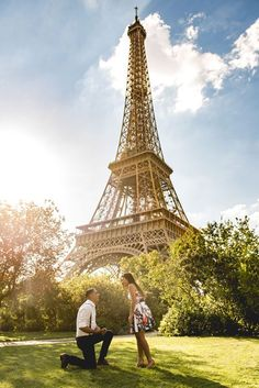 This destination proposal in Paris is the dream. He asked her to marry him right in front of Eiffel Tower!