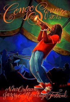 One of this year's official Jazz Fest posters.  Shamarr Allen pictured.