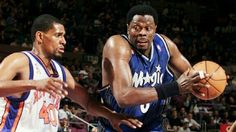 This picture doesn't even look right with Knicks legend Patrick Ewing in an Orlando Magic uniform driving on Kurt Thomas at Madison Square Garden in New York.