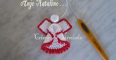 """A cabeça do Anjinho é feita com um """"botão"""" de Croche; PAP - Resumido : Circulos em pontos baixos, formam o Anjinho; ..."""