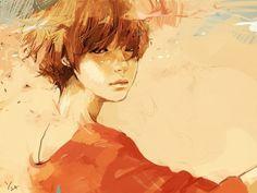 рыжие девушки  - нарисованные
