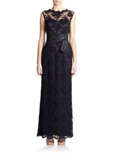 Teri Jon by Rickie Freeman Sequined Lace Gown