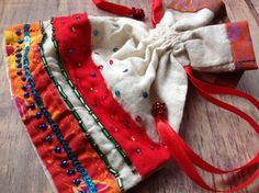 £4.00 Embroidered Drawstring Flax Bag, Cream and Red - handmade by Fair Trade artisans in India