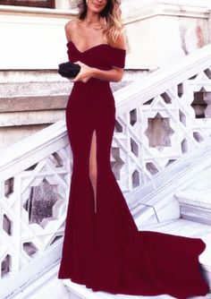 Long Prom Dresses,Burgundy Evening Dress,Mermaid Prom Dress,Mermaid Evening