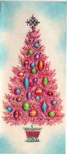 MCM Atomic Pink Silvered Shiny Brite Ornament Blue VTG Christmas Greeting Card  | eBay