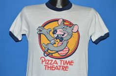 vintage 70s PIZZA TIME THEATRE SHOWBIZ CHUCK E CHEESE RINGER t-shirt SMALL S #Unbranded #GraphicTee
