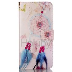Wallet Style Magnetic Side Flip Stand TPU + PU Leather Case for Samsung Galaxy S6 Edge G9250 - Feather Windbell