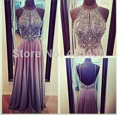 Vestidos De Fstiva Crew Neck Keyhole Front Backless Floor Length Isabella Narchi Crystal Prom Dress $159.99