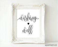 Black Calligraphy Wishing Well Sign, Wishing Well Sign, Wishing Well Downloadable Sign,