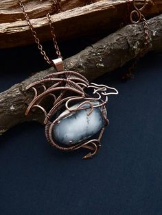 Dragon pendant with dendritic opal  Mother of dragons  Wire