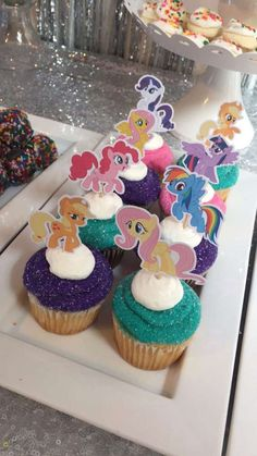 Fun cupcakes at a My Little Pony unicorn birthday party! See more party ideas at CatchMyParty.com!