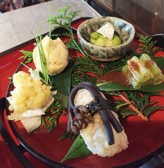 蕨寿司   そら豆ヘンプカッテージチーズ風 蕗のゴマだれ ひよこ豆茶巾 山うどてんぷら
