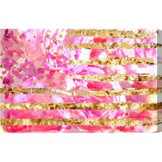 "House of Hampton My America Pink Graphic Art on Wrapped Canvas Size: 36"" H x 24"" W"