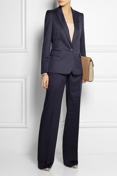 Navy wool-twill Slant pockets Concealed button, hook and zip fastening at front 100% wool Dry clean