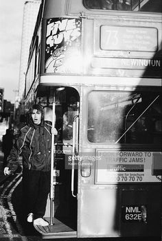 Liam Gallagher on board a number 73 Routemaster bus to Stoke Newington, London, March 1994