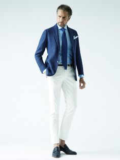 Blued out summer look. Blue jacket, blue striped shirt, blue tie, white pants. So fresh!