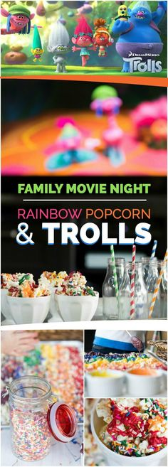 Party snacks girl night family movies 35 ideas for 2019 Movie Night For Kids, Dinner And A Movie, Family Movie Night, Kid Movies, Family Movies, Dreamworks, Rainbow Popcorn, Disney Dinner, Trolls