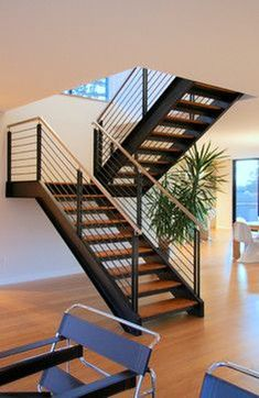 Industrial stairs design modern staircase 23 new ideas Glass Stairs Design, Stair Railing Design, Home Stairs Design, Interior Stairs, House Design, Open Stairs, Floating Stairs, Tiny House Stairs, Modern Apartment Design