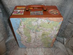 Upcycled Vintage Suitcase, with Portable Coffee or Tea Maker, Decoupaged in Maps and Travel Souvenirs, $50