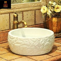 China Artistic Porcelain Handmade Embossed Ceramic Lavabo Bathroom Vessel Sinks