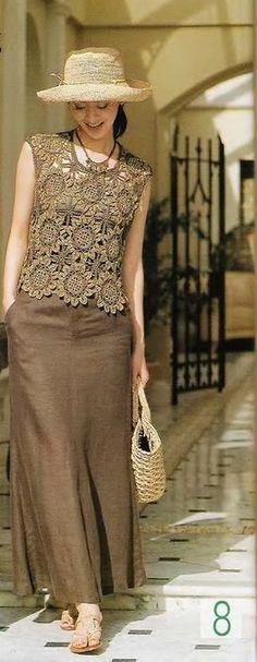 Beautiful Crochet motif lace top - ..bLuSa..