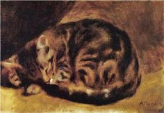 This rather intense looking person is Pierre Auguste Renoir. Renoir was a French Impressionist painter who sometimes included cats in his . Pierre Auguste Renoir, Monet, August Renoir, Oil Canvas, Canvas Art, Renoir Paintings, Art Gallery, Cat Sleeping, Oil Painting Reproductions