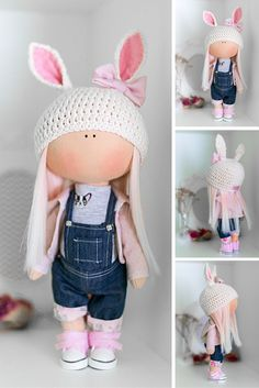 Rabbit doll AT STOCK handmade doll Tilda doll Jeans Rag doll Soft doll Cloth doll Fabric doll Art doll Interior doll by Master Diana Etkind