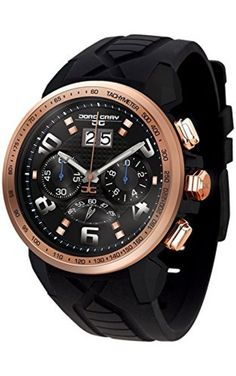 Jorg Gray JG5600-22 Men's Watch Chronograph Rose Gold Bezel With Integrated Black Silicone Strap by Jorg Gray -- Awesome products selected by Anna Churchill