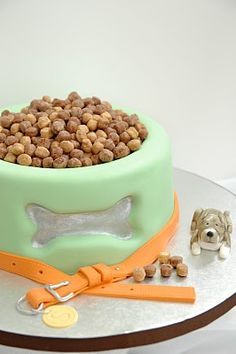 dog bowl cake idea....reese's puffs on top?