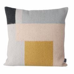 A contemporary cushion with Scandi influences - here with light blue, blush and ochre tones and bold graphic pattern.   - Cover made from 80% wool and 20% cotton - Filling is made from feather and down