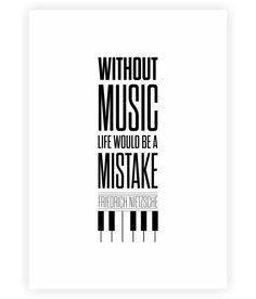 Friedrich Nietzsche Music Inspirational Quotes Typography Print Poster #ModernArt