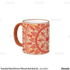 Detailed Hand Drawn Vibrant Red And Orange Mandala Ringer Coffee Mug