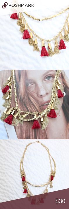 Baublebar Gold Red Double Chain Tassel Necklace Baublebar tassel necklace in gold.  In gently used condition, no flaws.  Measurements available upon request.  All orders shipped same or next business day! Baublebar Jewelry Necklaces
