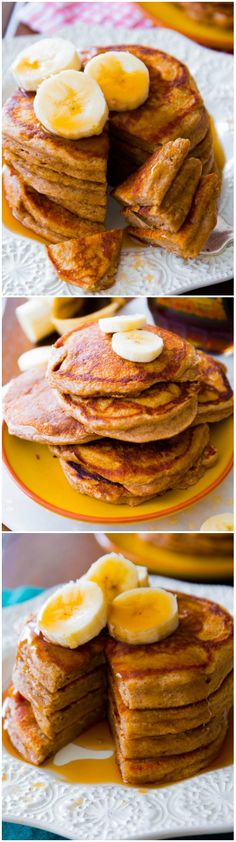 Healthy Recipes For Breakfast: Simple Whole Wheat Banana Pancakes made with Greek yogurt, banana, whole wheat flour, and not much else! I Love Food, Good Food, Yummy Food, Brunch Recipes, Breakfast Recipes, Whole Food Recipes, Cooking Recipes, Breakfast Desayunos, Breakfast Ideas