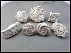 Handmade Stamps, Ceramic stamps, Pottery Supplies, Stoneware Stamps, Set of Seven NEW  Patten Stamps( 0104 )