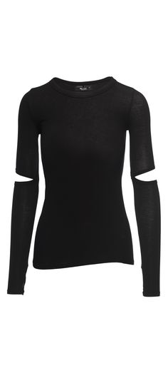 Michael Lauren Solomon Long Sleeve Fitted Tee With Elbow Slits in Black / Manage Products / Catalog / Magento Admin
