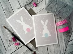 Baby girl/boy bunny cards by Bee Designs