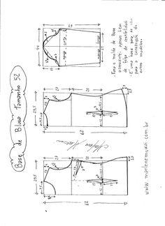 Esquema de modelagem de Base de Blusa tamanho 52.