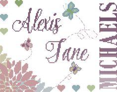 baby girl cross stitch pattern/baby girl birth record cross stitch/floral baby cross stitch/cross stitch flowers/cross stitch baby/nursery by oneofakindbabydesign on Etsy