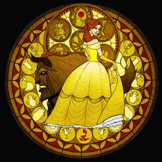 Belle Stained Glass - disney-princess Fan Art