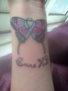 """Melissa Shanahan - """"So i got a tattoo today. Its a butterfly with a blue HD ribbon and it says 'Cure HD' on it. I love it so much and i'm glad i got it but it hurt so much!!! I went through the pain for my Dad as i know he would like me doing this in memory of him and HD awareness. It was definitely worth it."""""""