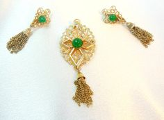 Sarah Coventry Peking Earrings Brooch Set by Ladysfancys on Etsy, $24.50