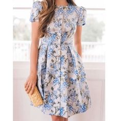 Gal Meets Glam Margaret Poppy Jacquard Blue Floral Fit and Flare Dress. Glam Dresses, Pretty Dresses, Beautiful Dresses, Woman Dresses, Floral Fashion, Modest Fashion, Fashion Dresses, Frock Design, Ladies Dress Design