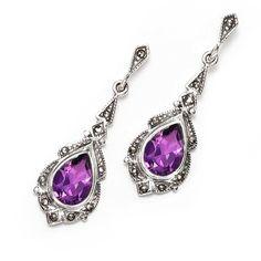Victorian Teardrop Amethyst Marcasite Sterling Silver Earrings