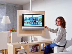 Rotatable TV wall DO-it-YOURSELF home improvement magazineimprovement Living Room Partition Design, Room Partition Designs, Tv Stand Room Divider, Swivel Tv Stand, Rack Tv, Tv Furniture, Tv In Bedroom, Cool Walls, Home Living Room