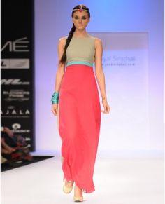 0ee1c77d87c50 Hot Pink and Grey Block Printed Dress- Buy Dresses